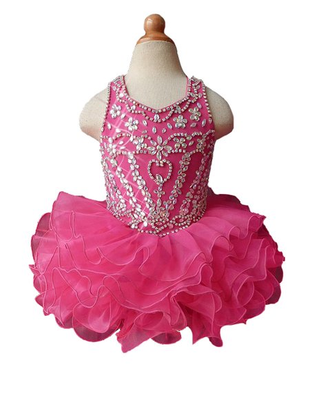 Girl's Pageant Dresses 2019 Ruffles Cupcake Ruffles Toddler Beaded Mini Birthday Party Short Mini Gowns Girls Special Occasion Dress