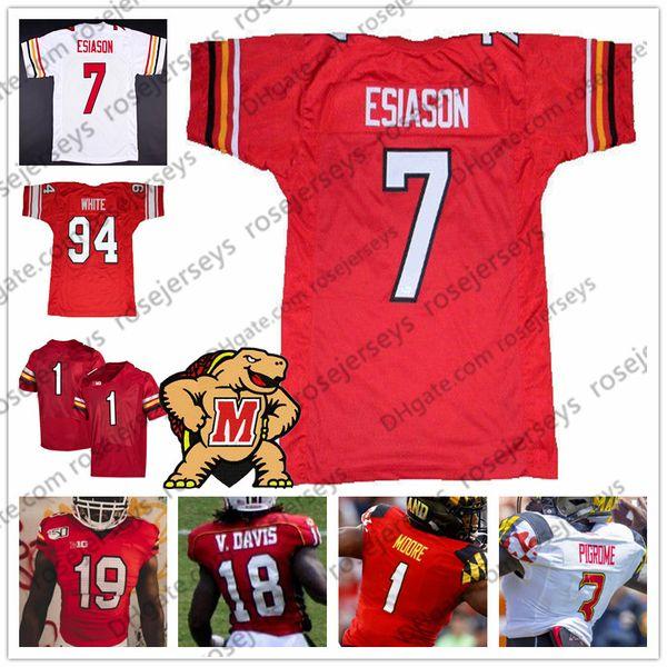 NCAA Maryland Terps #1 DJ Moore 7 Boomer Esiason 18 Vernon Davis 94 Randy White Red Vintage College Football Retro Jersey