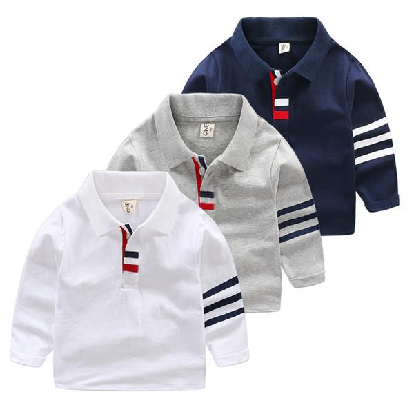 Primavera otoño niños solapa Polo camisa niño manga larga Tops gris blanco azul marino niños algodón polo Boy ropa para niños
