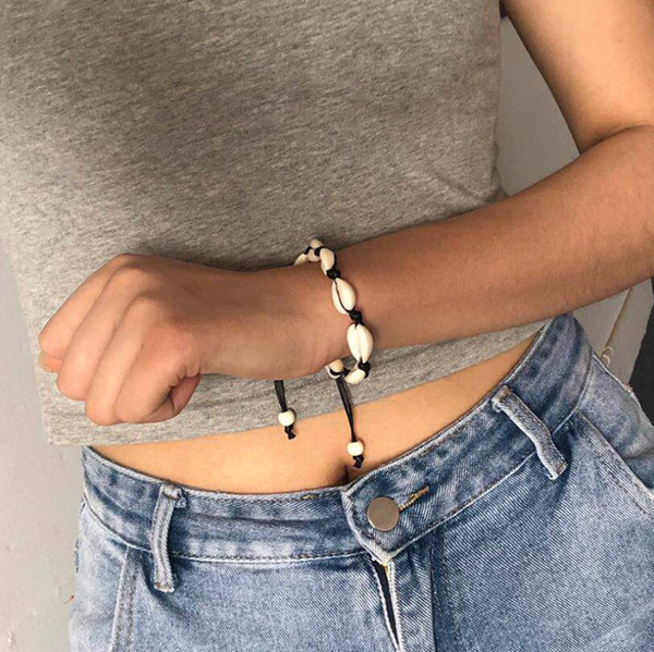 Love Natural Hawaii Shell Charms Bracelet Black White Rope Braided Adjustable Chain Charms Bangle Fashionable Jewelry For Women