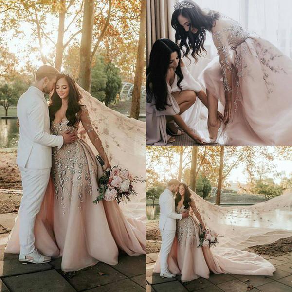 Blush Rosa Sereia Vestidos de Casamento Sheer Jewel Neck Lace 3D Apliques Florais de Cristal Destacável Overskirt Manga Comprida Vestido de Noiva