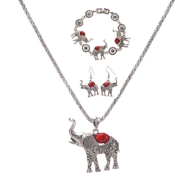 Bohemia elefante colgante collar pulsera aretes conjunto joyería exagerada europea y americana tres piezas conjunto venta por mayor