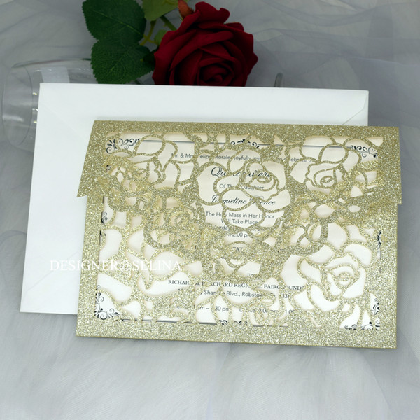 top popular Cordially Inviting - Champagne Gold Glitter Pocket Wedding Invitations Full Laser Cut Invitation for Quinceanera Anniversary Greeting Cards 2021