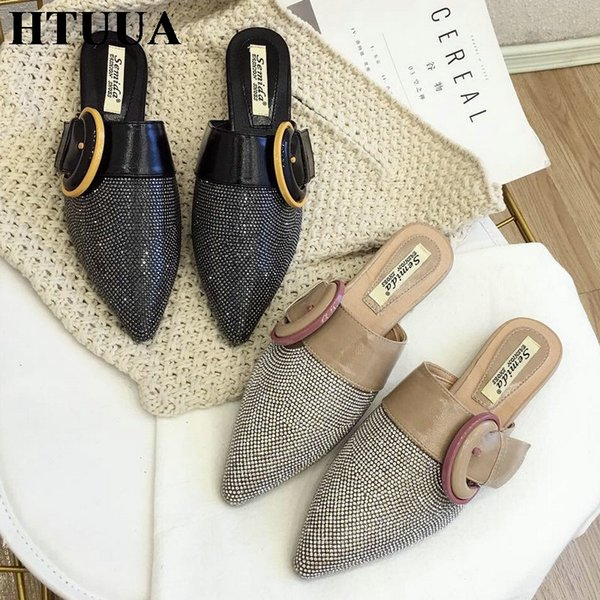 HTUUA 2019 New Flat Mules Shoes Women Bling Crystal Slippers Red Bottom Buckle Shoes Summer Slides Designer Ladies SX2167