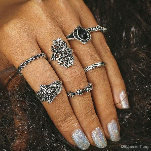 Exquisite 7pcs/set Gem Knuckle Ring Midi Finger Tip Rings Women Engagemen Rings Luxury Turquoise Jewelry Mens Wedding Rings Bague