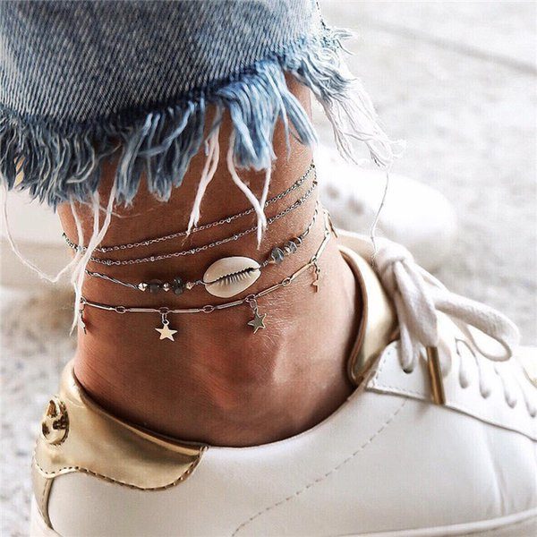 4pcs/set Boho Women Shell Anklets Natural Stone Star Pendant Foot Chain Summer Beach Anklet Fine Jewelry Nice Gift T174