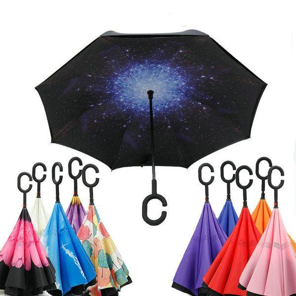 Windproof Ters Şemsiye Çift Katmanlı Ters Katlanır Şemsiye C Kolu Ile Kendini Dışında Standı Ters Şemsiye Ters Güneşlik