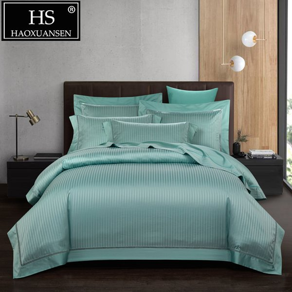 High Density Green Striped Jacquard Bedding Sets 4pcs Luxury Bed Cover Queen King Size Adult Bed Set Cotton Bed Linen Set