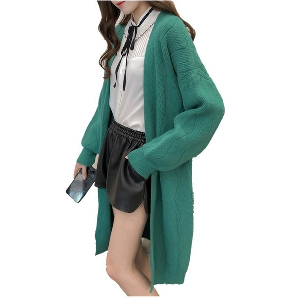 Autumn Winter Knit Cardigan Lazy Sweater Solid Color Mid-long Loose Pocket Jacket