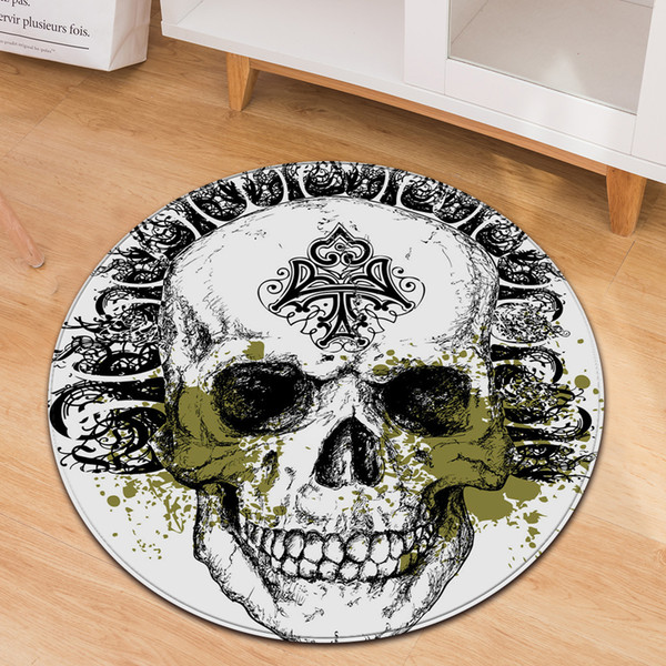 Personality 3D Skull Round Rug Soft Flannel Memory Foam Larger Size Carpets for Living Room Home Area Rugs Baby Play Game Mats