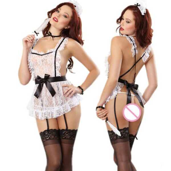 1 Set Bowknot French Maid Costumes Princesse Femmes Halloween Costumes Robe Femmes Vêtements Cosplay Robe sexy