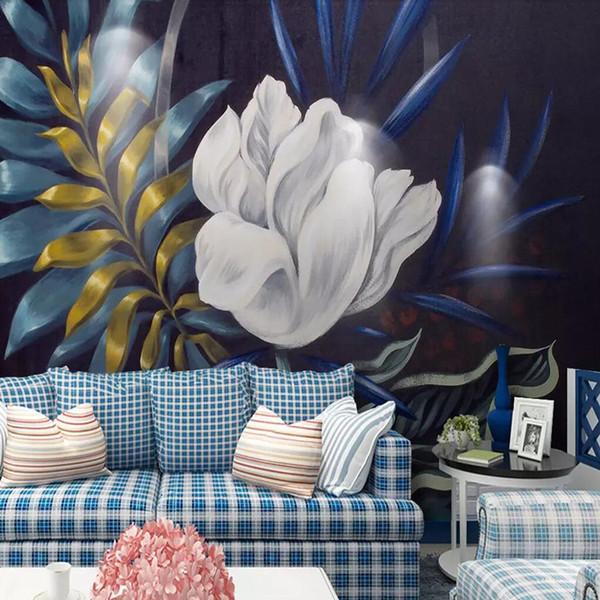 3d Escandinavo retro floral arte parede cobrindo quarto sala de estar fundo pano de parede pintados à mão-restaurante criativo personalizado mural