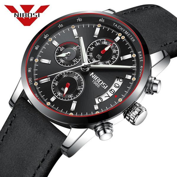 NIBOSI Mens Watches Top Brand Luxury Male Leather Waterproof Sport Quartz Chronograph Military Wrist Watches Men Clock relogio