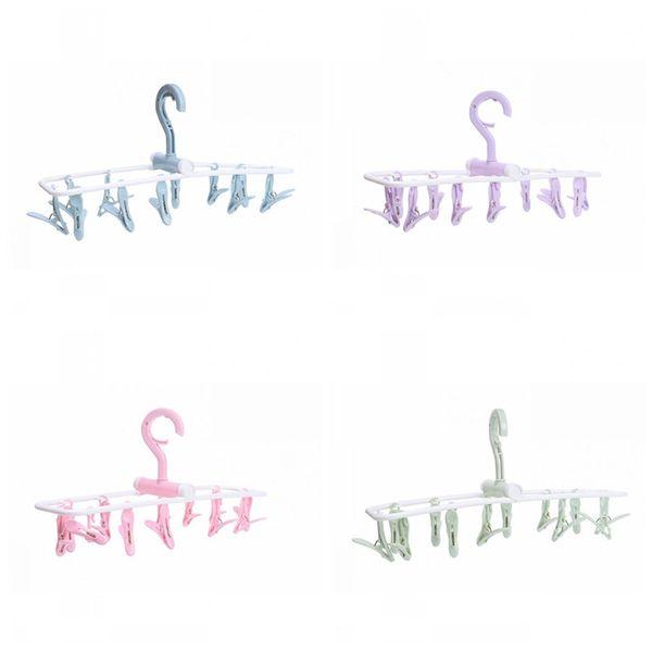 Plastiques pliables vêtements séchage cintre sous-vêtements chaussette 12 clips supports de stockage de vêtements multi fonction brise-vent 2 8gs E1