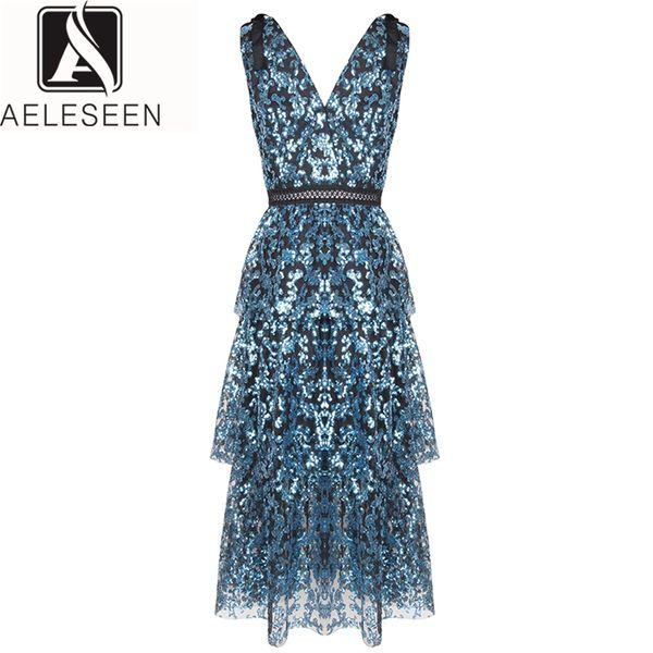 vendita all'ingrosso Designer Dress 2019 Summer Sleeveless Fashion V-Neck Luxury Club Midi Party Elegante blu sexy abito paillettes