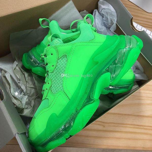 triple s zapatos verdes moda mujer hombre zapatos Nuevo diseñador zapatillas Marca de moda de lujo zapatos casuales talla 35-45 modelo HX01
