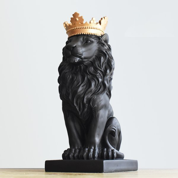 Nordic Handsome Crown Lion Resin Statues Ornament Home Decoration Crafts Mascot Modern Office Desktop Figurines Sculptures Art