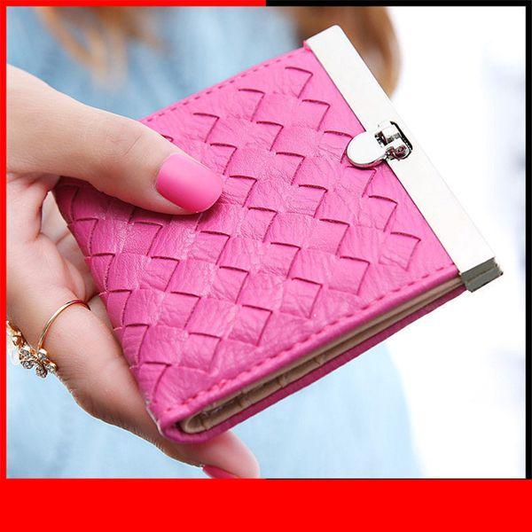 Fashion Women Money Clips Lady Purse Cards Id Holder Kintting Pattern Short Clutch Woman Wallets Bags Burses Girls Moneybags