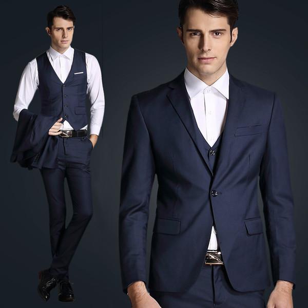 3 Piece Suits Men Navy Blue Tuxedo Men Suit Slim Fit Formal Blazer Custom Groom Wedding Suit For Business Costume Homme