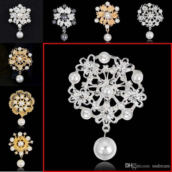 Pearl Crystal Flower Brooches Silver Gold Plated brooches pins Boutonniere Stick Corsage for Women Men Christmas Jewelry 170284