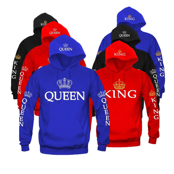 KING & QUEEN MR & MRS Lovers Couple Hooded Sweatshirt Men Women Pullover Casual Cotton Tops Tee Hoodie Valentine's Day Gift Hot