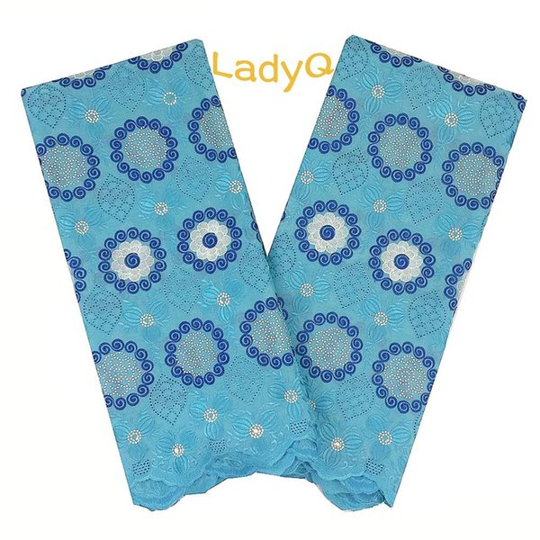 LadyQ Wedding Blue Turquoise Lace Fabric with Rhinestones Eyelet 2018 Swiss Voile Lace In Switzerland Cotton Dry Lace Fabrics