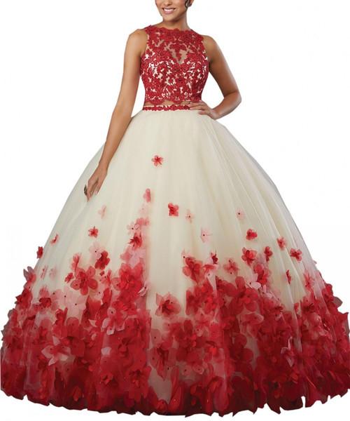 Mode 3D Blumen Blumen rot Quinceanera Prom Kleider 2019 Günstige zwei Stücke Spitze Applique Ballkleid Sweet 16 Kleid