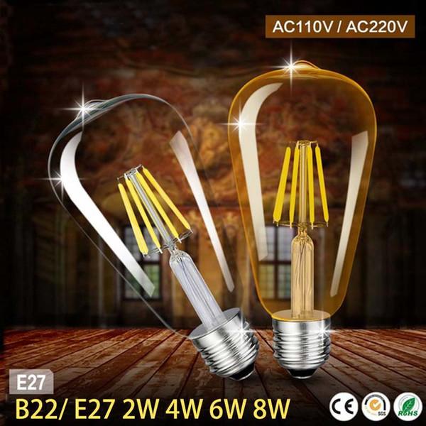 ST64 führte Birne dimmbar 2W 4W 6W 8W B22 E27 führte Glühlampe 220V Weinlese-Glühlampe für jeden Fall Beleuchtung