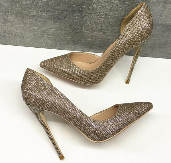 2019 New Women Glitter Shoes Champagne Sequins Cut-Outs High Heel Point Red Bottom High-heeled Sexy Side-Hollow Woman Lady Party Dress Shoes