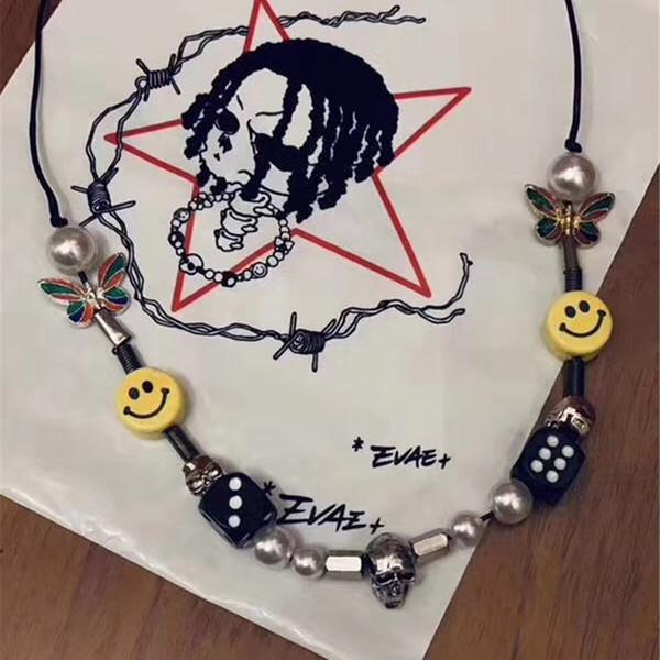 A $ AP Collar de Hip Hop aprobado por ROCKY Moda de alta calidad Hombres Mujeres Smiley Collar de perlas