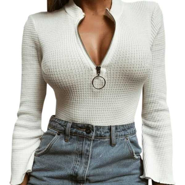 Zipper Long Sleeve Bodycon Lady Autumn Sexy Women Bodysuits Skinny Party Jumpsuit Winter One Piece Body Rompers Plus Size GV466