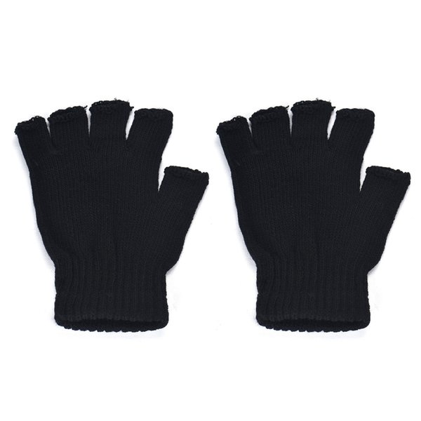 Casual Autumn Winter Men women Gloves Black Knitted Stretch Elastic Warm Half Finger Fingerless Gloves Mittens Male