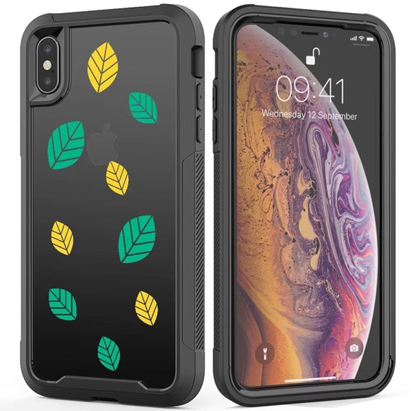 Luxury Design Defender Case for iPhone XR X XS Max iPhone 8 7 6s Plus 5G Hybird Black TPU+Clear Acrylic Samsung S10 S10e S10+ Combo Case