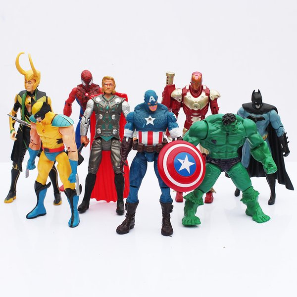 toy New 8pcs/lot The PVC Model Toys With LED Spider man Hulk Thor Superman Captain American Figure Toys
