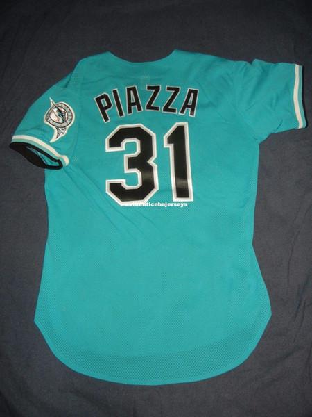 Barato Retro Top Russell Atlético # 31 MIKE PIAZZA FLORIDA BP Jersey Teal Miami Mens Costurado jerseys de Beisebol