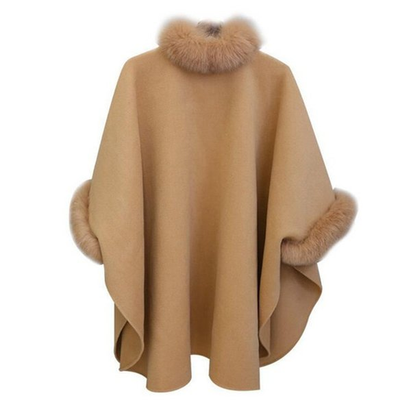 Womens Faux Fur Collar Wool Cape Cloak Batwing Coat Outwear Parkas Poncho S-XL