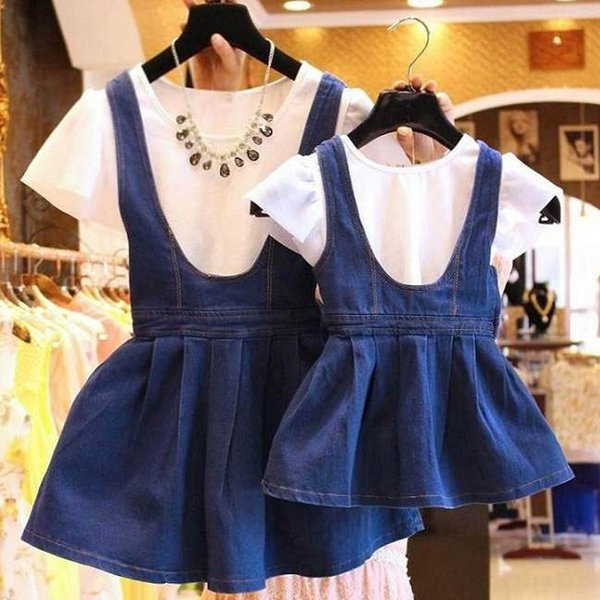 2pcs Mother Daughter Dresses Family Matching Clothes Set T Shirt+denim Skirt Jeans Dress Mommy Mother And Daughter Me Clothes J190508