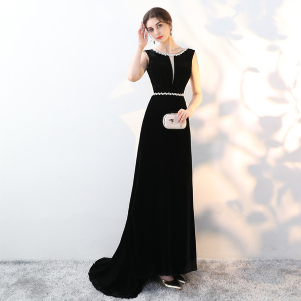 2019 Noble Crystals Sexy Evening Dresses Scoop Velvet Backless Cheap Prom Dresses Elegant Formal Party Bridesmaid Pageant Gowns