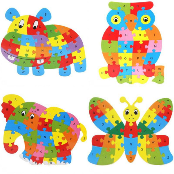 best selling Cute Animal Alphabet Jigsaw For Children Early childhood education puzzle cartoon animal 26 letter puzzle board wooden puzzle toy