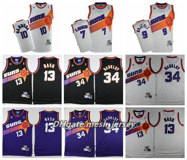 new product dbe85 34fb3 2019 Retro 2019 Phoenix Basketball Suns Jersey #13 Steve Nash #34 Charles  Barkley 9 Majerle 10 Barbosa 7 Kjohnson Stitched Basketball Jerseys From ...