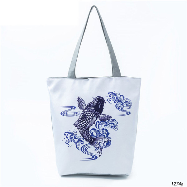 good quality Casual Cartoon Fish Tote Handbag Female Chinese Traditional Painting Canvas Shoulder Bag Or Girls Summer Beach Bag