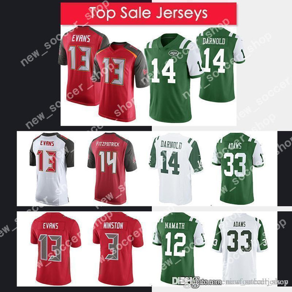 reputable site 8390b bf5d7 2019 Tampa Bay Men Buccaneers Jersey 14 Ryan Fitzpatrick 13 Mike Evans 3  Jameis Winston 14 Sam Darnold 33 Jamal Adams Jets Jerseys From ...