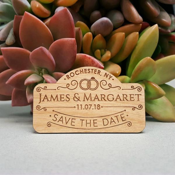 O casamento rústico salvar os ímãs de data Salvar os ímãs de data personalizado madeira gravada