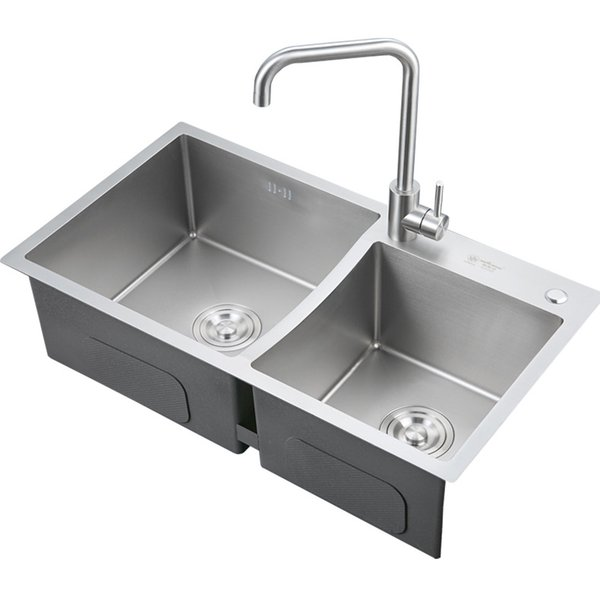 Luxury Multiple Sizes Stainless Steel Double Bowl Top mount Handmade Kitchen Sink