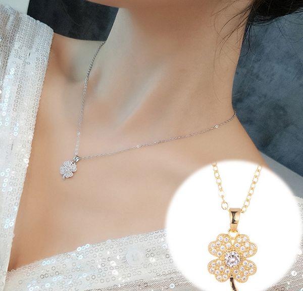 24pc / set collana di diamanti femminile Quadrifoglio 18K colori clavicola catena di lusso in di breve semplici collana del regalo di compleanno XL53