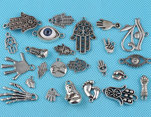 Mixed Vintage Silver Boxing Gloves Arm Foot Hamsa Hand Eye of Horus Charm Pendant For Handmade Gift Jewelry Making Bracelet Random Delivery
