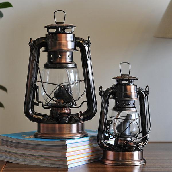 Mediterranean Style Lantern Bronze Oil Lamp Furnishing Articles Iron Hurricane Lamp Candle Holders Y19061901