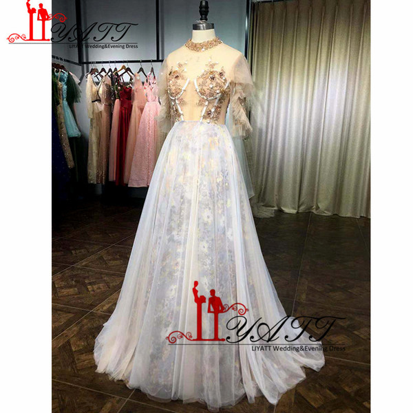 Newest 2019 Floral Pattern Skirt Illusion High Neckline Appliques Colorful Beads Formal Prom Dress Fairy Evening Gown Sleeves