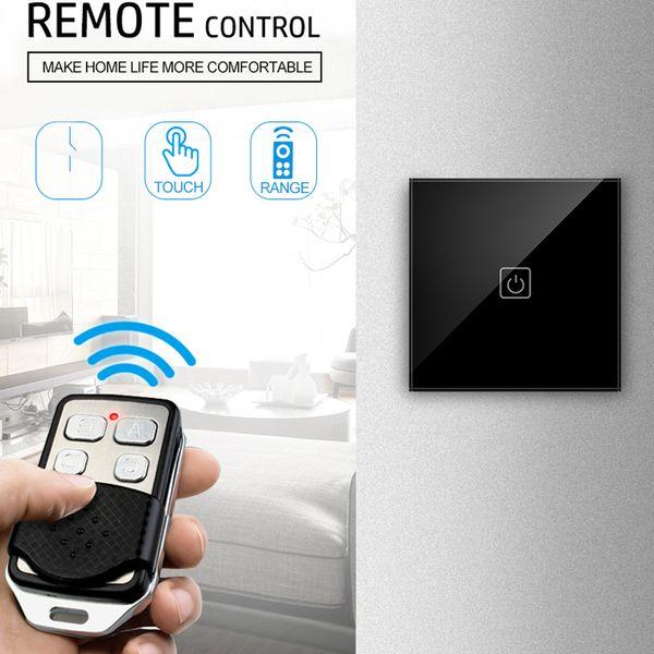EU/UK Standard wireless remote control Touch Switch 1 /2 /3 Gang 1 Way crystal glass panel wall light switch