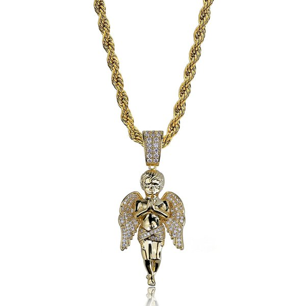 Hip Hop Necklace 18K Gold Plated CZ iced out Rhinestone Angle Pendant Necklace for Men Womens Nice Gift